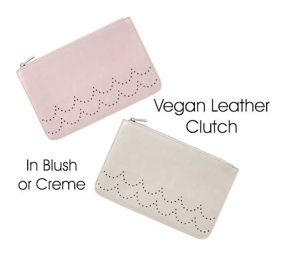 Ava Vegan Leather Clutch in Blush or Creme