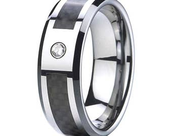 8 mm  1 Cubic Zirconia (CZ) Black  Carbon Fiber Tungsten Carbide Men's /Women's Ring Band Sizes 6-15 - Comfort fit