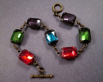 Rhinestone Bracelet, Green Blue Purple and Red Glass Rhinestones, Brass Beaded Bracelet, FREE Shipping U.S.