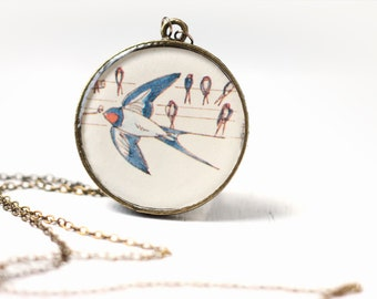 Flying Swallow Bird Vintage Art Pendant Necklace Bird Lover Blue and Red