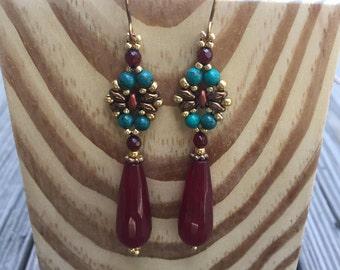 Woven Beaded Carnelian Drop Earrings