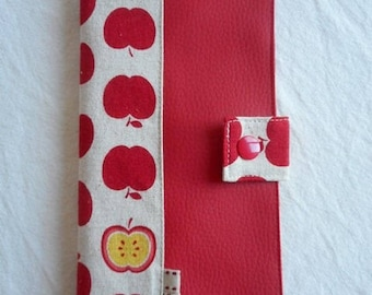 "CASE for family in red leather and linen/cotton ""apples"""