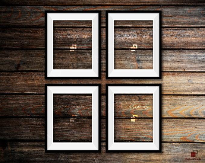 BLACK FRAME MOCKUP, Set of 4, Empty Mockup Frame, Black Frame Mock-Up, Digital Frame Mockup for download, Frame Mockup, Download File