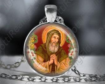 St. Joachim Necklace Catholic Silvertone Medal 1 inch Pendant Religious Christian Jewelry