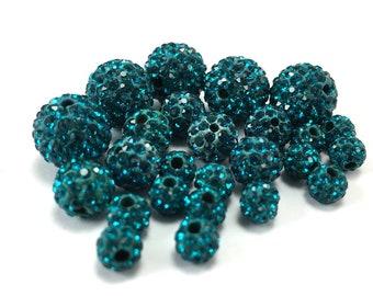 8mm Teal Blue Rhinestone Bead, 8mm Disco bead, Teal Blue bead, 8mm Teal Blue beads, crystal bead, small crystal bead, Canadian Seller