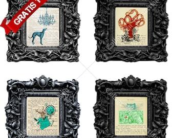 Wall digital art,Steampunk digital art,Collage digital art,Kids room art,Octopus print,Kids wallpaper,Kids funny art,Digital room art