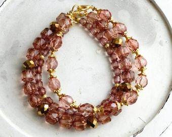 50% Off SALE Bracelet set, dusty pink and gold beaded bracelets 2