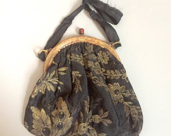 Edwardian evening bag / edwardian lamé purse