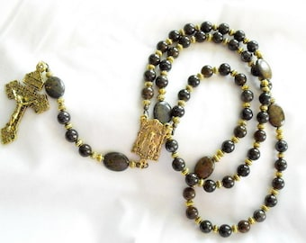 Bronzite and antique gold finish rosary