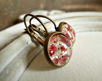 Blossoms Earrings Cabochon Jewelry Bronze, Red/ White