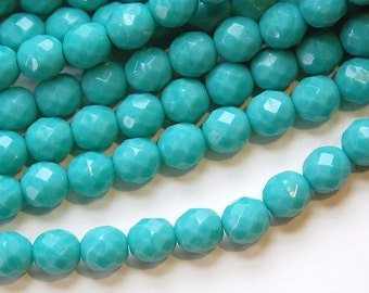 Czech Opaque Turquoise Blue Faceted Glass Beads 8mm (25) czh001A