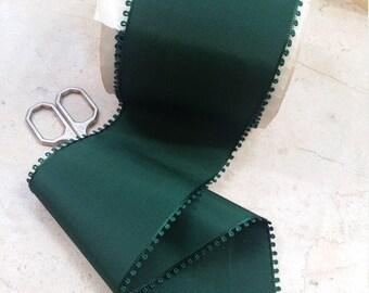 "3"" Vintage French Ribbon Picot Edge Rayon Taffeta in Gorgeous Forest Green sash, bow, bridal. Christmas"