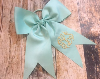 Personalized Cheer Bow - Monogrammed Pony Tail Holder Bow - Big Bow - Choose Your Color
