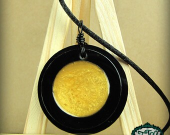 Opalescent Golden Circle Bullseye Style Resin and Acrylic OOAK Necklace