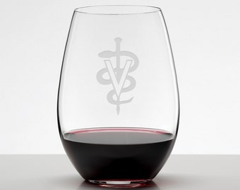 DVM Veterinarian Gift, Custom Etched Stemless Wineglass, Vet Tech, Veterinary Office