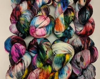 Paint Splatter Yarn - hand dyed yarn, merino wool yarn, hand painted yarn, hand dyed sock yarn, speckle yarn, knit, black, blue, white
