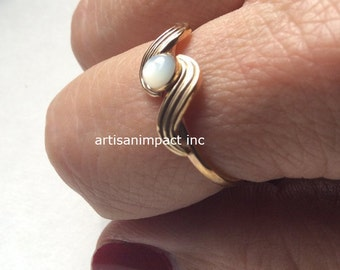 Midi ring, Engagement ring, Gold Filled ring, shell ring, simple Gold ring, dainty ring, delicate ring, bohemian ring - The Reason R2248