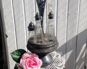 Cruet/Condiment/Castor Set - Victorian Silverplate, Etched Glass