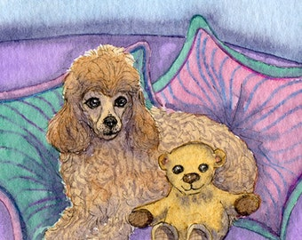 Poodle and teddy bear friends 10x8 inches print by Susan Alison