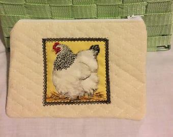 Quilted chicken purse,zipper purse,zipped coin purse,cream purse,cream purse,UK seller