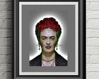 Digital Art, Frida Kahlo, Digital Wall Art, Frida Inspired, Fridalicious Art, Artistic Inspiration, Gift Ideas, Frida Lovers, Viva Frida