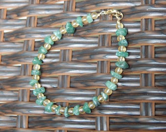 Green aventurine gemstone chip bracelet.