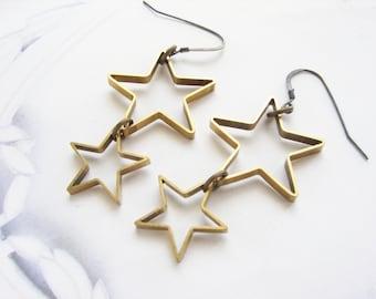 Star drop earrings, shooting star dangle earrings, drop earrings, shooting star drop, North star earrings gift for teen girls