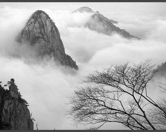 Mountains Nature, Foggy Mountains, Mountains Photography, Mountains Foggy Print, Mountains Print, Poster