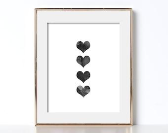 Black and White Heart Digital Download Printable Art Cute Print Digital Art Texture Print Home Decor Girls Room Decor Bathroom Decor Office