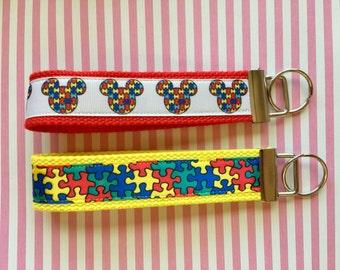 Aumônière de prise de conscience de l'autisme porte-clés ruban 1,25 pouce en sangle de coton