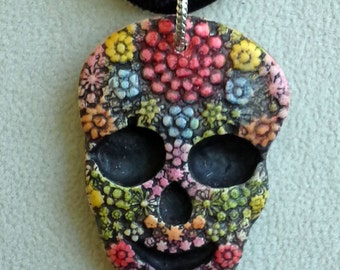 Festive Colorful Petite Sugar Skull Pendant Day of the Dead Halloween Necklace