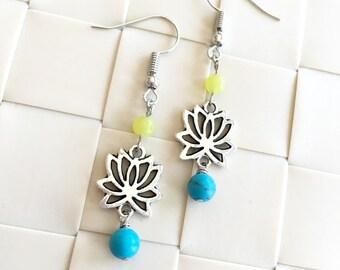 Oriental Lotus Silver-plated Earrings, Cheerful Colors Earrings, Semi Precious Stones Earrings, Flower Earrings, X'mas Gift, Gift for her