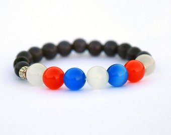 Patriotic Bracelet USA Bracelet 4th Of July Bracelet American Flag Bracelet American Bracelet Patriotic Jewelry Red White Blue Independence