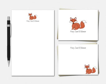 Red Fox Stationery Set - Personalized Red Fox Stationery - Personalised Stationary - Red Fox - Personalized Red Fox Stationery for Kids