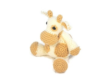Brown and White Crochet Stuffed Cow, Plush Crochet Cow, Stuffed Crochet Cow Toy, Crochet Toy, Cow Baby Gift