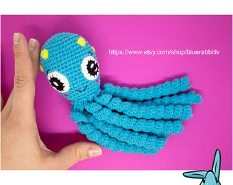 Ocean blue octopus toy. Crochet amigurumi toy for baby.