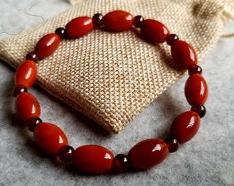 Red Agate Sardonyx Barrel Beads Bracelet + Garnet