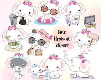 Cute Elephant set 1 clipart instant download PNG file - 300 dpi