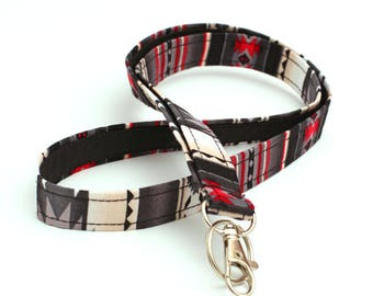 Southwestern ID Holder, Cute Neck Strap, Navajo Fabric Lanyard, Lanyard ID Badge Holder, Tribal Keychain - red black gray tribal pattern