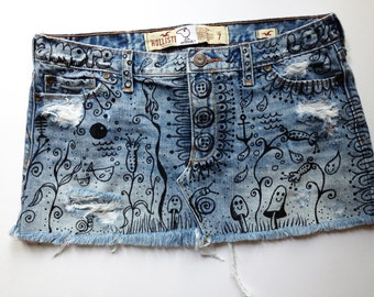 Recycled, hand-painted denim mini skirt. TESORO. Tattooed jeans. bling, charms. Exclusive, one-of a-kind wearable work of art!
