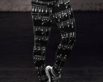 Musician Gift Music Leggings Sheet Music Notes Yoga Pants Womens Leggings Musicians Gifts