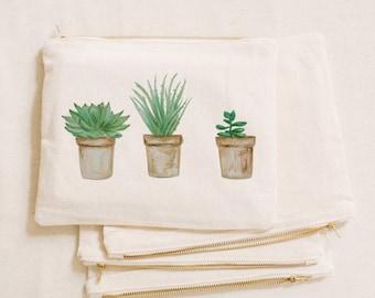 Watercolor Makeup Bag - Potted Succulents, Handmade in USA, 100% Organic Cotton, Shop Small, Pencil Case, Bridesmaid Gift, Wedding Favor