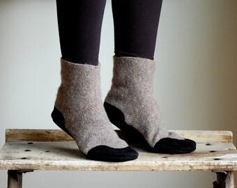 Women Wool Slipper Socks, Leather Soles, Eco Friendly, women size 9.5, Winter Hangs On