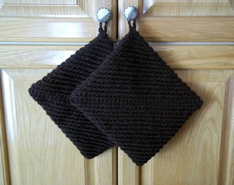 Crochet Pot Holders Double Thick Hot Pad Color- Brown or Color of Your Choice Set of Two