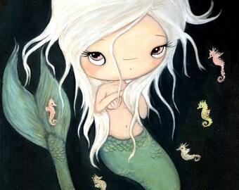 Mermaid Print Nautical Art Girl Seahorse Children Wall Art Decor---The White Mermaid