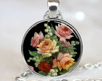 Rose Pendant, Rose  Necklace, Rose  Jewelry, Rose Charm, Silver (PD0201)