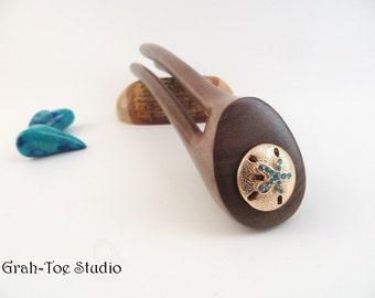 Avalon Tusk SNAP Hair Fork, Hairforks, Grahtoe Studio, Blue Mahoe Wood, Hair Forks, Hair Clip, Hair Sticks, Hairstick, Original 3D Hairfork