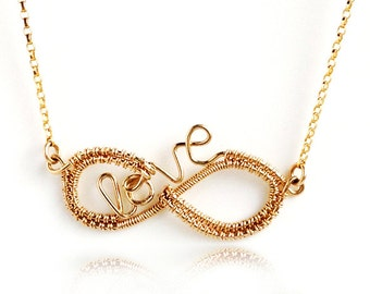 Infinity love necklace, Wire crochet necklace, Infinity Wire Necklace, Love Wire Necklace, Eternity Jewelry