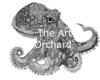 Print at home octopus colouring page