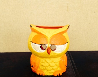 Mod Neon Orange and Yellow Owl Candleholder